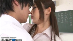 Japanese most sexy teacher in pantyhose helps student