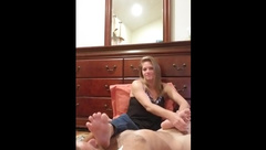 Stinky Foot Worship Cuck Handjob/footjob with Cum on Soles Cleanup