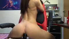 Jeyssy69 Anal Ride Big Black Toy back and Front on Cam / Red Chair Ride