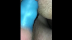 Husband Fucks Wife with Bad Dragon Cock Sleeve and Cums on her Ass