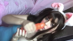 Bunny Cosplay Petite Teen Girl Sucking Dildo and Touches herself