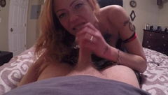 Hot MILF comes to gives a PRO Blowjob BJ Head Sucks Dick Cumshot