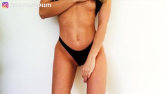 Fitness Teen Babe with Small Tits trying on Underwear and Showing you Pussy