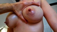 I Fuck her and the she Rides me while Dropping Milk from her Big Tits.