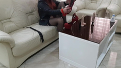 Lady with High Heels Play with Dildo