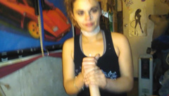 Gothic Teen gets her Throat used for 22 Min, & then Swallows Load!