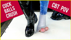 Ballbusting and Cock Balls Crush in Patent Leather Boots and Socks CBT POV