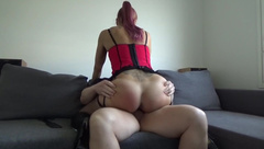 Riding on Daddy's Fat Cock while getting Spanked and Fucked Hard