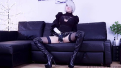 2b Cosplay Solo with Vibrator and Dildo HD