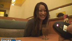 Japanese assistant in pantyhose blows her boss