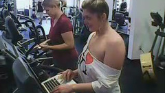 Tylerashay topless in the gym while people workout