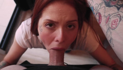 College Girl Sucking Big Cock and Eating 2 Cumshots! DAMN she Loves CUM!