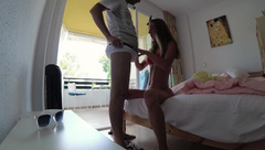 Real Teen Amateur. Hard Fucked Girlfriend in Hotel Room - Sasha Bikeyeva
