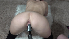 Female Ejaculation. Doggystyle Drildo makes me Surprise Squirt Cum on Socks