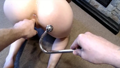 Little Rose tries her Anal Hook and Takes a Mouth Full of Cum