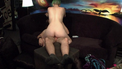 Green Haired Babe tries Anal