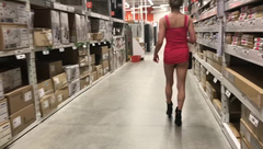 HIGH HEELED SHORT SKIRT NO PANTIES IN HOME DEPOT NUDE IN PUBLIC