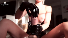 Latex Handjob from Teen with Perfect Tits - Huge Load by just two Fingers